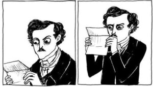 Two panels depicting Edgar Allan Poe squinting incredulously at a letter.